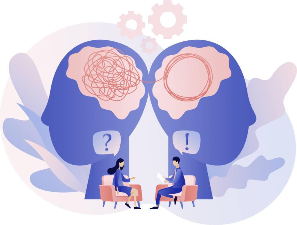 Thérapeute dénouant et guidant son patient dans la compréhension de ses maux psychiques