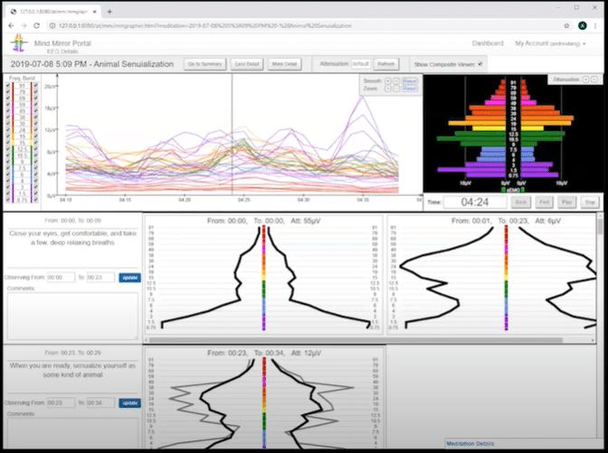Visualisation des ondes cérébrales sur le Mind Mirror avec la méthode Awakened Mind en Neurofeedback
